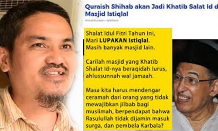 Hasil gambar untuk postingan jonru kepada KH quraish shihab