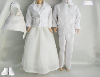 Hana's Barbie - Betty and Kenny in Western Muslim Wedding Dress